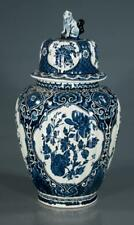 Blue and white Delfts ginger jar with dome lid with foo dog mount wit... Lot 167