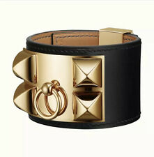 HERMES calfskin gold plated Medor pyramid studs and ring adjustable closure