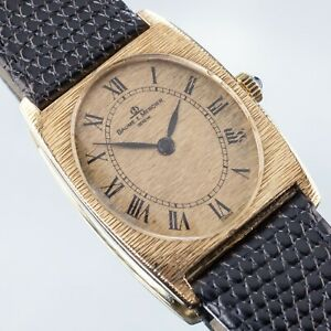 Baume & Mercier 18k Yellow Gold Tonneau Hand-Winding Watch w/ Black Leather Band