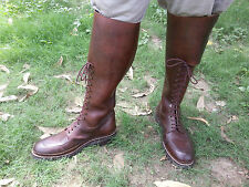 Mux Leather Vintage Brown Laces, 3 Side Buckle Horse Riding Tall Boot UK 5 - 12