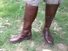 Mux Cuero Vintage Marrón Cordones, 3 lado Hebilla Equitación Bota Alta UK 5 - 12