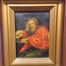 Fino Antiguo Retrato de un hombre con barba gris y capa roja óleo sobre lienzo
