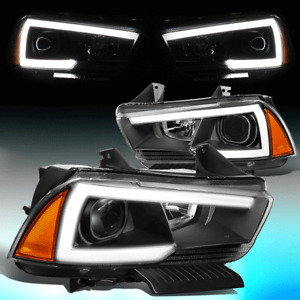 FOR 2011-2014 DODGE CHARGER PAIR LED DRL PROJECTOR HEADLIGHT LAMPS BLACK/AMBER