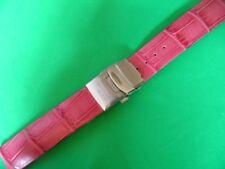 20 mm BRACELET CUIR VERITABLE FACON ALLIGATOR ROSE JASMIN SUR BOUCLE DEPLOYANTE