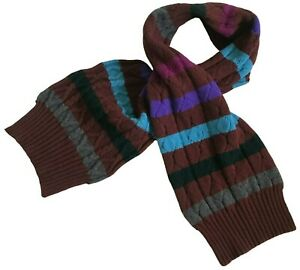 "Paul Smith ""MAINLINE"" LARGE Multi Coloured Striped CABLE KNIT  WOOL SCARF"