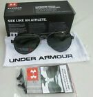 Under Armour Men's Polarized Sunglasses Aviator Satin Gunmetal Black Getaway New