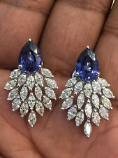 Pave 8.93 Cts F/VS1 Natural Marquise Diamonds Sapphire Stud Earrings In 14K Gold