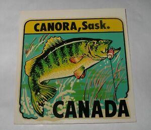 c1960's FISHING TRANSFER STICKER Decal CANORA Saskatchewan CANADA