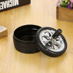Spinning Ashtray With Press Rotating Lid Cigarette Ash Collector Metal Tool FB