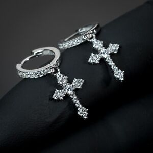 2Pc White Gold Silver Iced Cz Cross Drop Dangle Hanging Huggie Hoop Earrings
