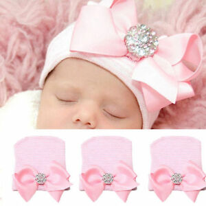 Newborn Baby Infant Girls Toddler Comfy Cotton Bowknot Beanie Hat Hospital Cap