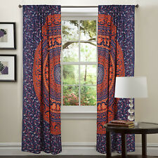 Indian Purple Curtains Cotton Fabric Wall Valance Window Curtain Panels Throw