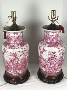 """Pair Chinese Lamp 21"""" Vase Porcelain Hand Painted United Wilson Pink palm trees"""