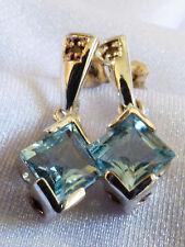Sterling Silver 925 Blue Topaz & Diamond drop charm Earrings