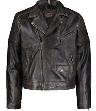 AVIATRIX Washed Black Waxed Leather Biker Jacket Size XLarge