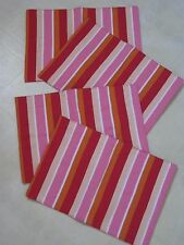 GORGEOUS Striped Placemat Set 4 / Pink Red White Orange Beige / NEW
