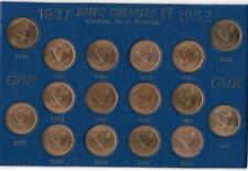More details for complete cased george vi farthing set nice condition original lustre 16 coins.
