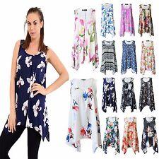 New Womens Ladies Printed Hanky Hem Top Floral Flared Swing Sleeveless Plus Size