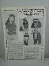 Vintage Madame Alexander Native American Indian Doll Clothes Pattern 0801  NEW