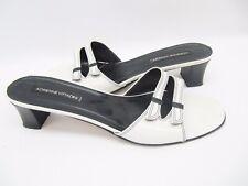 Adrienne Vittadini White Black Contrast Stitch Slide Sandals 11 M