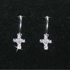 Diamond Alternatives Sm Hoop Cross Dangle Earrings 14k White Gold over 925 SS