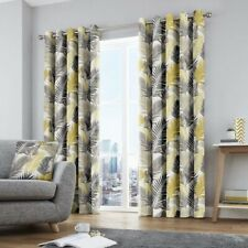 Fusion Tropical Leaves Grey Yellow Lined Eyelet Curtains 229 W X 229cm Drop