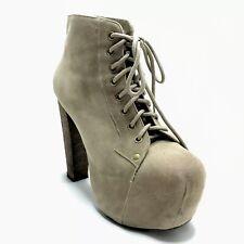 Jeffrey Campbell Lita Platform Boots Women's 7 Ankle Tan Suede