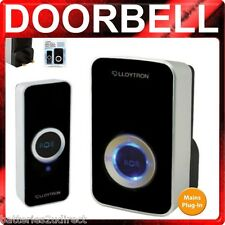 Black Wireless PLUG IN Door Bell Chime DoorBell 100m Mains includes batteries
