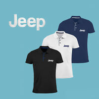 JEEP Polo T Shirt EMBROIDERED Auto Car Logo Slim Fit Tee Gift Mens Clothing