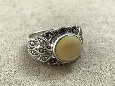 Mother of Pearl and Marcasite Sterling Silver 925 Ring Size 9
