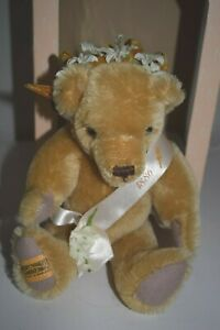"""Merry Thought Statue of Liberty Bear 10"""" Gold Mohair #62 of 2500 pieces NIB"""