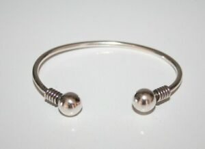 STERLING SILVER 925 Mexico Chunky BALL BEAD Torque CUFF BANGLE BRACELET