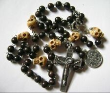 Old oxen Bone Skull Father Beads & Black Ebony Beads Rosary & Cross necklace