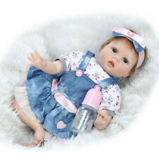 Reborn Baby Doll Silicone vinyl 22'' Lovely Lifelike Baby Girl Toy  dress doll