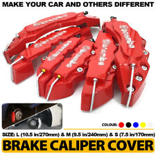 6x Red 3D Brake Caliper Covers Style Disc Universal Car Front Rear Kit L+M+S C3