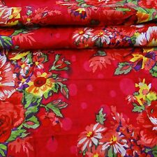 Floral Printed Designer Red Dressmaking Cotton Fabric For Quilting By the Yd