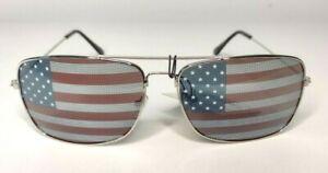 4th of July American Flag Aviator Sunglasses Patriotic USA Stars Stripes Silver