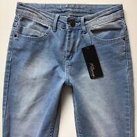 BNWT Ladies Jane Norman Crop Capri Faded Blue Jeans Size 6 W24 L25 (687a)
