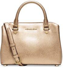 NEW Michael Kors Small Savannah Pale Gold Saffiano Leather Satchel bag $298