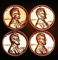 1957 58 59 60 Gem Proof Lincoln Wheat Backs & Memorial Pennies Cents US Coin Set