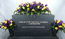 Double Cemetery Flower Memorial Headstone Saddle/Pillow+Matching Vase Bushes