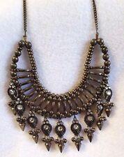 Statement Necklace Cato Bib Festival Egyptian Faux Jewel Dangle Bead Gold Tone