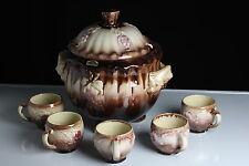 Alforau Bowle Set Keramik inkl.5 Henkel Becher Trauben