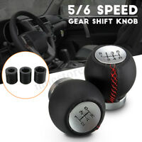 Leather 5 6 Speed Manual Car Gear Shift Knob Shifter Stick Lever For