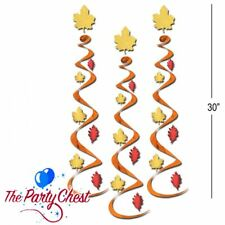 3 THANKSGIVING LEAF HANGING WHIRLS DECORATIONS Festive Fall Party Decorations