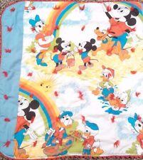 Vintage Disney Baby Blanket Quilt Mickey Pluto Donald Daisy Rainbow Sun 27x27