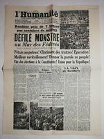 N1226 La Une Du Journal L'humanité 29 mai 1945 défilé monstre