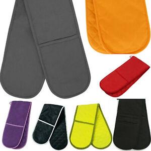 Plain Colour Double Oven Glove 100% Cotton Insulated Kitchen Gift Pot Holder UK