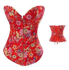 NEW SIZE MEDIUM RED DENIM FLORAL SWEETHEART NECKLINE HOOK & EYE/LACE-UP CORSET