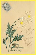 cpa Carte en RELIEF Gaufrée FLEURS PAQUERETTES Flowers Embossed DAISIES New Art